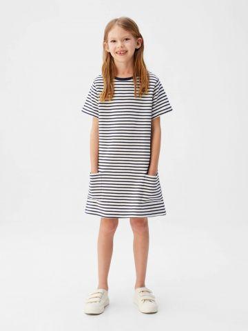 שמלת טי שירט בהדפס פסים