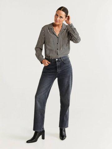 חולצה מכופתרת בהדפס משבצות עם כיס