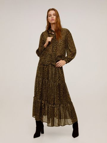 חצאית מידי בהדפס מנומר עם מלמלה