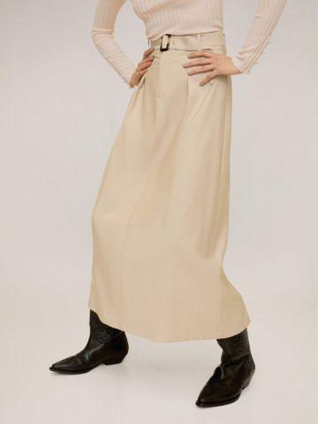 חצאית מקסי בשילוב חגורה עם אבזם מעוצב