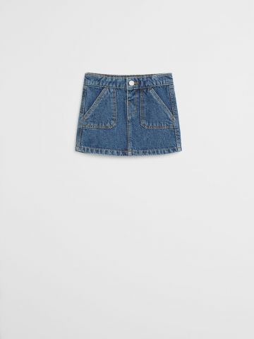 חצאית ג'ינס עם כיסים / 9M-4Y