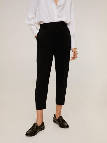 מכנסי קרופ מחויטים בגזרה ישרה