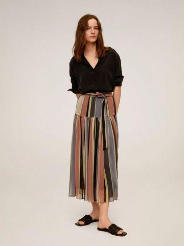 חצאית מידי פליסה בהדפס פסים