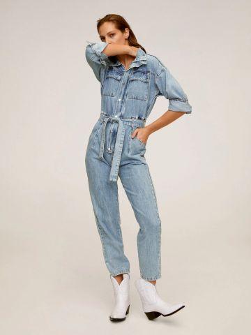 אוברול ג'ינס ארוך עם חגורת קשירה