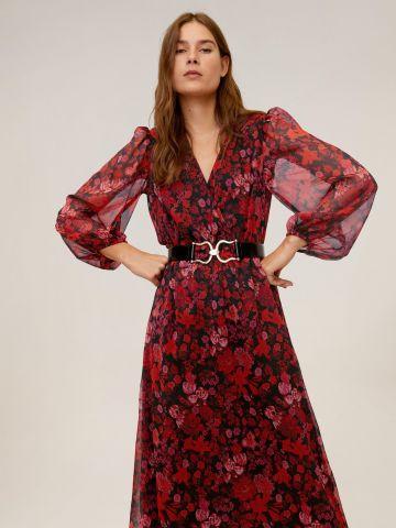 שמלת מידי בהדפס פרחים עם שרוולים נפוחים
