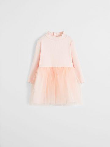 שמלת מיני ריב עם חצאית טול / 9M-4Y