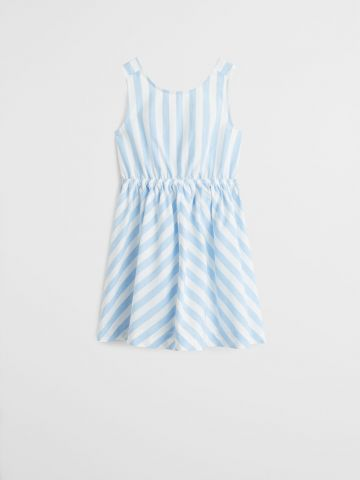 שמלת פסים עם קשירה בגב / בנות