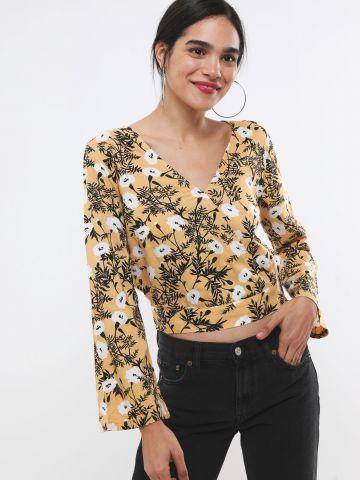 חולצת קימונו וי בהדפס פרחים