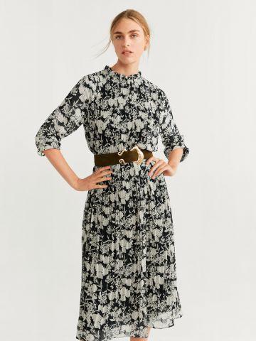 שמלת פליסה בהדפס פרחים