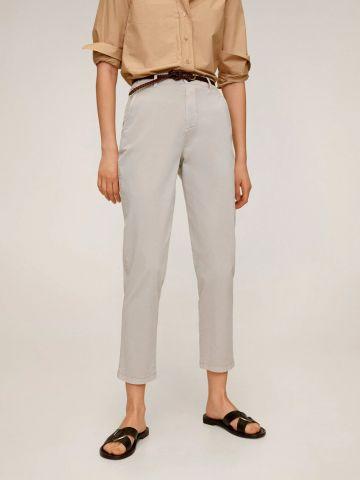 מכנסיים ארוכים עם חגורת עור