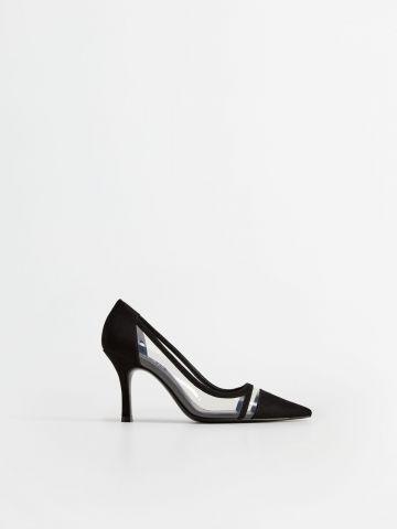 נעלי סטילטו עם פאנלים שקופים