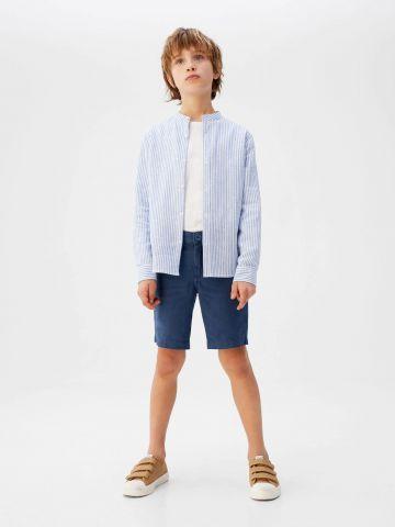 מכנסי פשתן ברמודה קצרים
