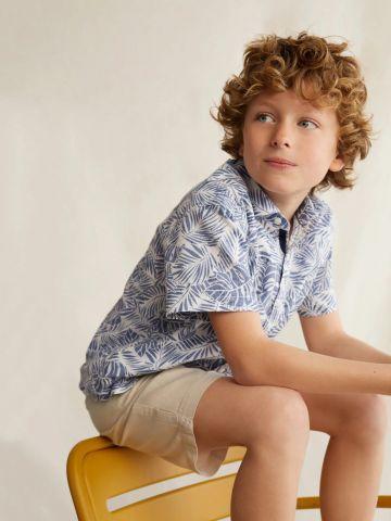 חולצה מכופתרת בהדפס עלים טרופיים של MANGO