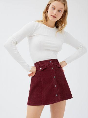 חצאית קורדורוי מיני עם כפתורים BDG