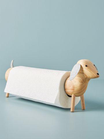 מעמד עץ לנייר בדוגמת כלב