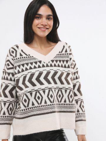 סוודר אוברסייז בהדפס גיאומטרי של YANGA