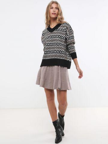 חצאית סריג מיני פסים