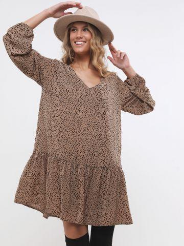 שמלת מיני בהדפס חברבורות עם פפלום