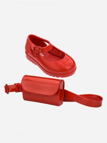 סט נעלי בובה ופאוץ' בגימור מבריק / בייבי בנות