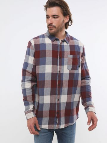חולצת פלנל מכופתרת בהדפס משבצות