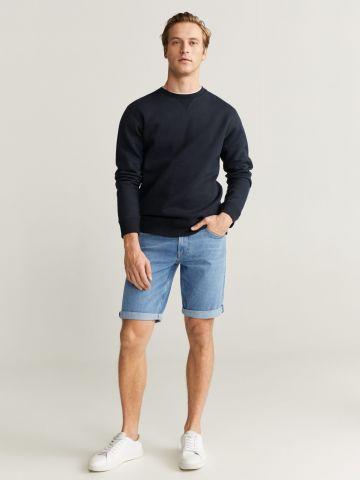 ג'ינס ברמודה בשטיפה בהירה