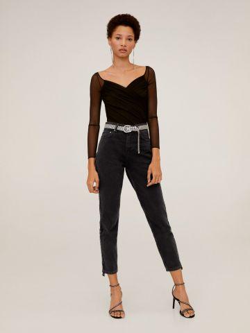 ג'ינס Mom עם סטריפים קטיפה