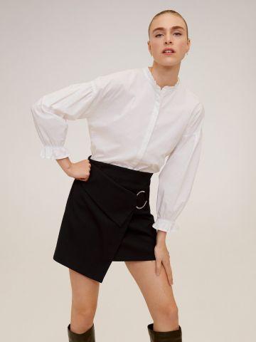 חצאית מיני בסגנון מעטפת בשילוב אבזם טבעת