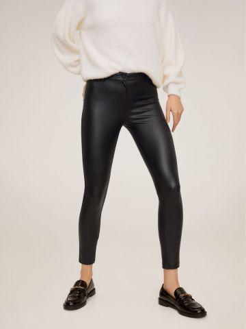 מכנסי סקיני ארוכים דמוי עור