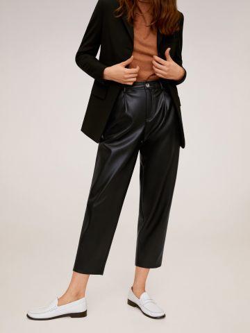 מכנסי קרופ דמוי עור Relaxed fit