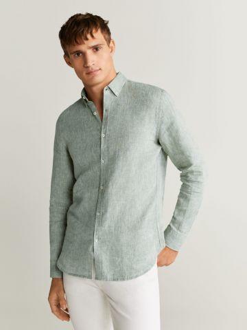 חולצת פשתן מכופתרת Slim-Fit