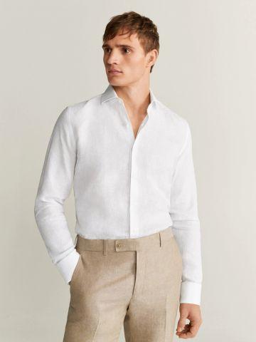 חולצת פשתן מכופתרת slim fit
