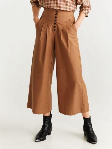 מכנסי קרופ רחבים עם כפתורים