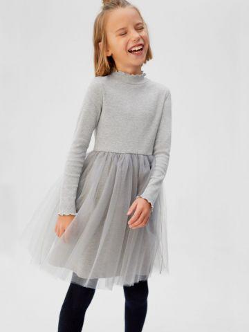 שמלת מיני עם חצאית טול וצווארון גבוה