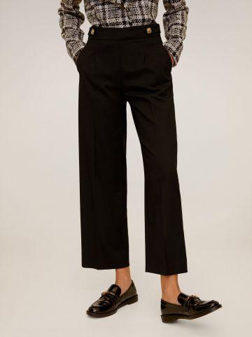 מכנסי קרופ מחויטים בשילוב כפתורים דקורטיביים