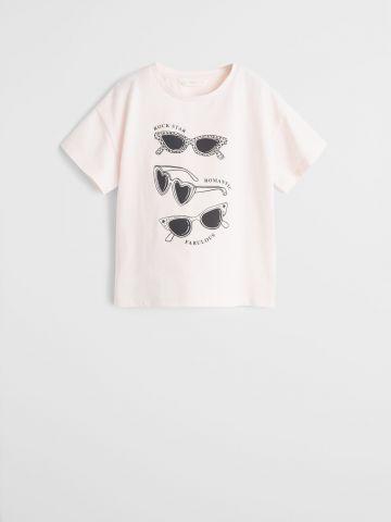טי שירט עם הדפס משקפי שמש / בנות