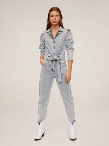 אוברול ג'ינס ארוך אסיד ווש