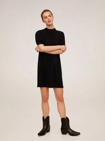 שמלת מיני עם שרוולים קצרים נפוחים