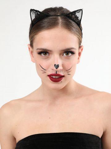 קשת אוזני חתול עם תחרה / תחפושות לפורים