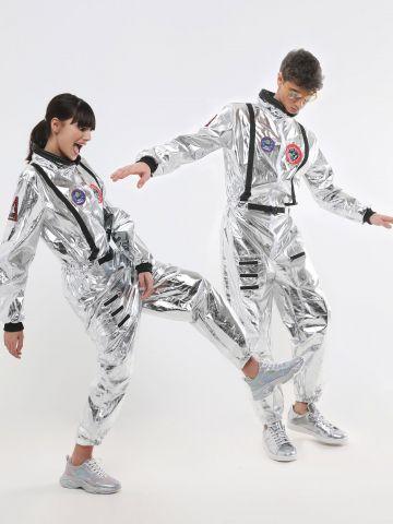 אוברול אסטרונאוט כסוף עם פאצ'ים / תחפושת לפורים