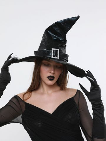 כובע מכשפה מחודד עם אבזם אבנים