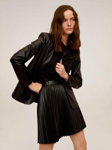חצאית מיני פליסה דמוי עור