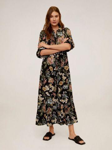 שמלת מקסי מכופתרת בהדפס פרחים