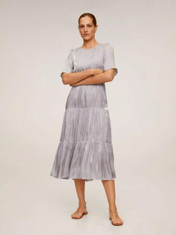שמלת סאטן מידי בסגנון קומות