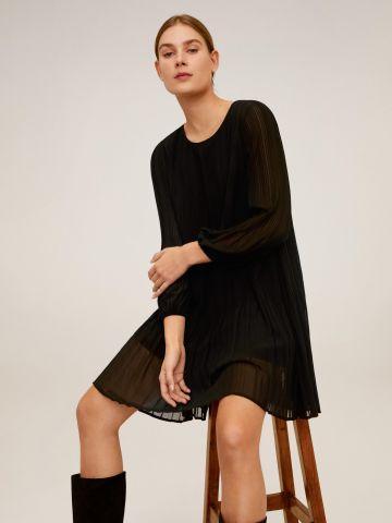 שמלת מיני פליסה בשילוב קשירה