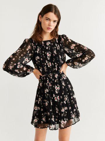 שמלת מיני פליסה בהדפס פרחים בשילוב קשירה