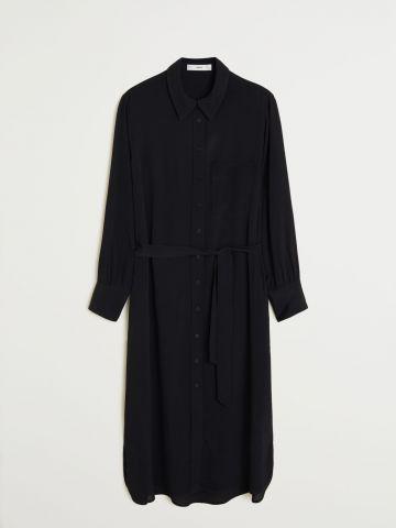 שמלת מידי מכופתרת בשילוב חגורת קשירה