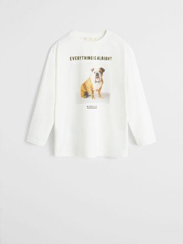 טי שירט עם הדפס כלב בשילוב כיתוב קטיפה / בנים