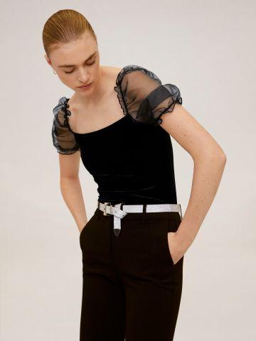 חולצת קטיפה עם שרוולי רשת מלמלה