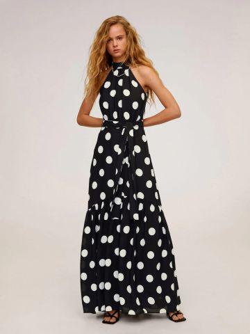 שמלת מקסי פפלום בהדפס נקודות