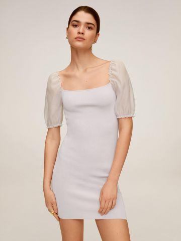 שמלת מיני סרוגה עם שרוולים נפוחים
